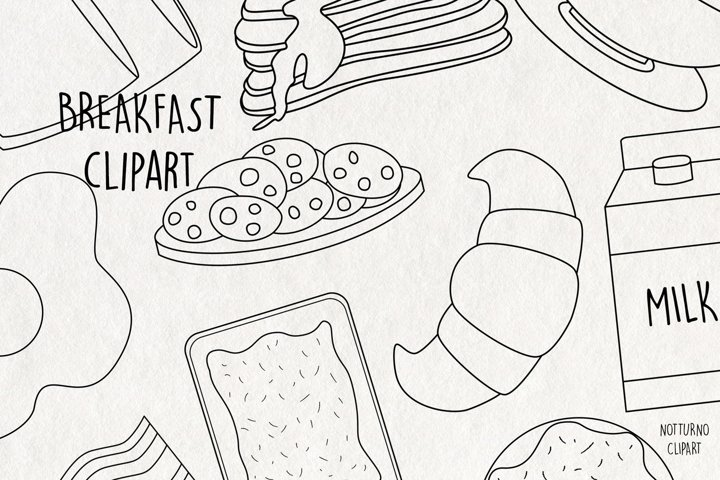 Coloring Breakfast SVG Clipart black and white