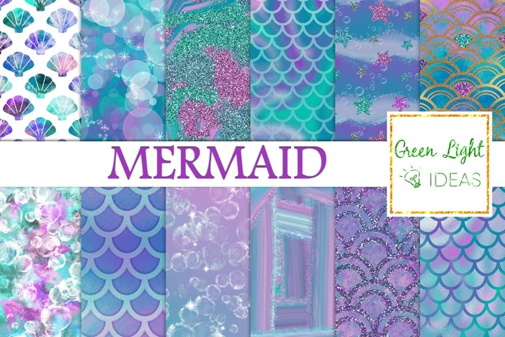 Mermaid Digital Papers, Fantasy Mermaid Textures, Sea Papers