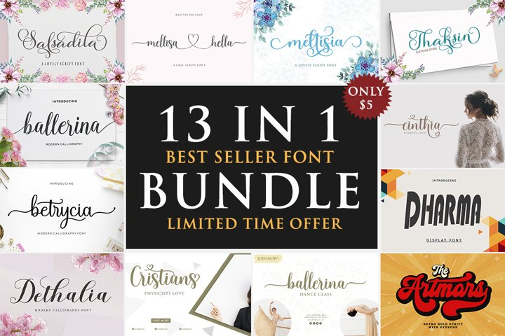 13 Best Seller Font BUNDLE