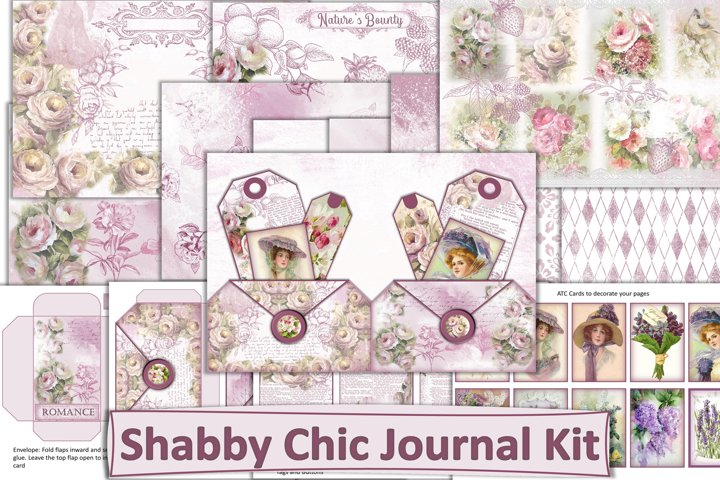 Shabby Chic Valentines Junk Journal Kit JPEG, PNG, PDF