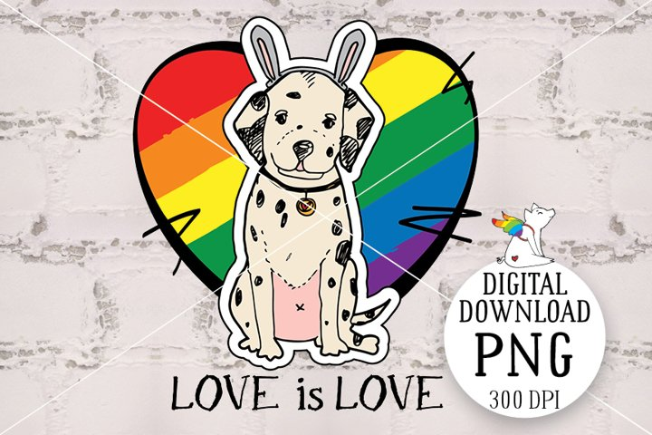 Puppy lgbt, Dalmatian, Love is Love, Lgbtq Pride, Happy Prid