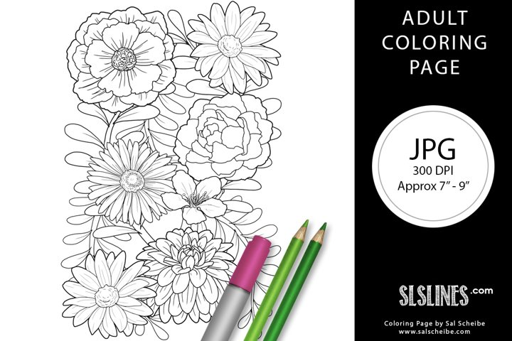 Beautiful Flowers Dahlias and Daisies Adult Coloring Page