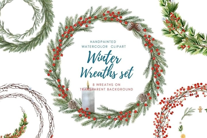 Watercolor christmas wreath clipart.