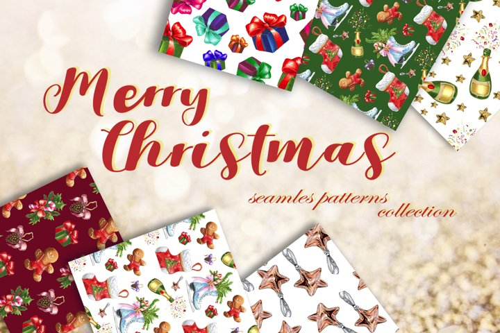 Christmas seamless watercolor patterns collection.