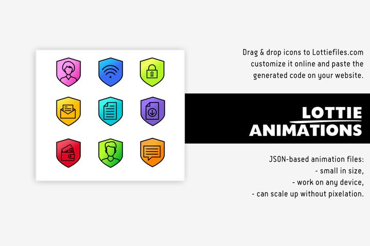 Animated Lottie shield icon pack - 15 animations