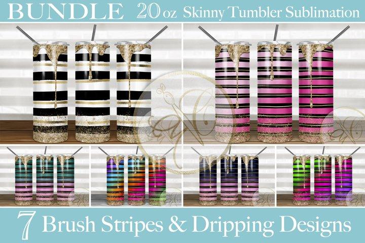 BUNDLE Brush Stripes 2oz Skinny Tumbler Sublimation