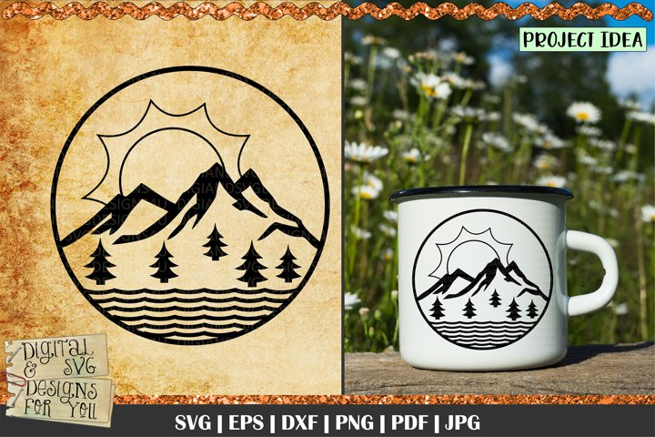 Mountain scene svg | Mountain SVG | Trees svg | Forest scene