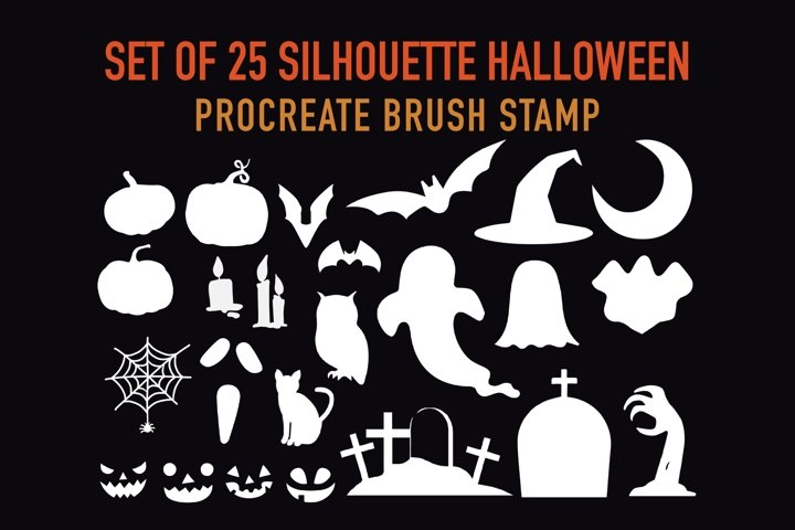 Halloween Silhouette Stamp Brushes for Procreate