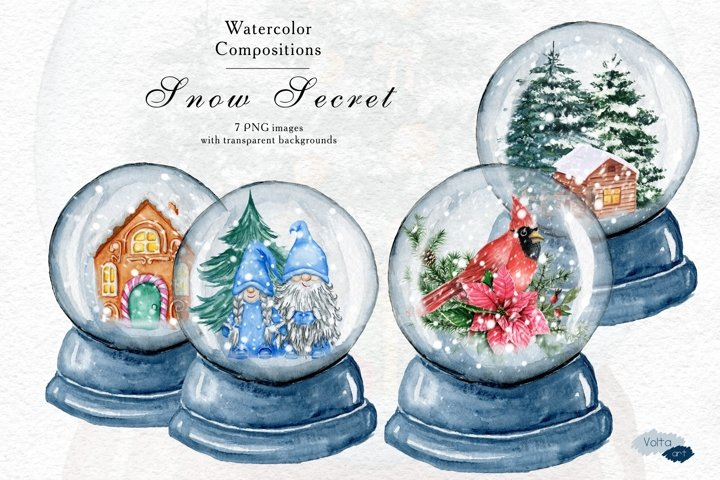 Christmas Blue Snow Globe, Winter PNG watercolor objects