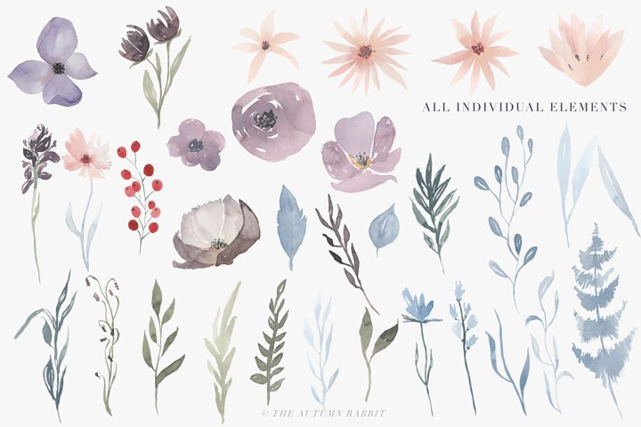 Watercolor Floral Clipart - Hazy Fields - Free Design of The Week Design3