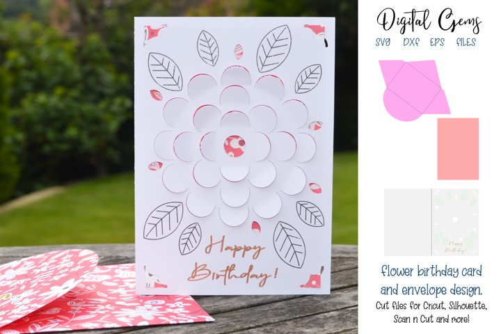 Birthday flower card and envelope design SVG / DXF / EPS