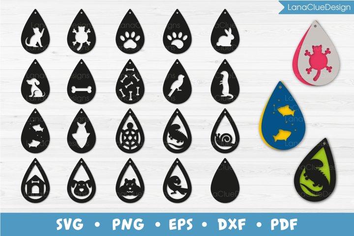 Pets Teardrop Earrings Bundle SVG