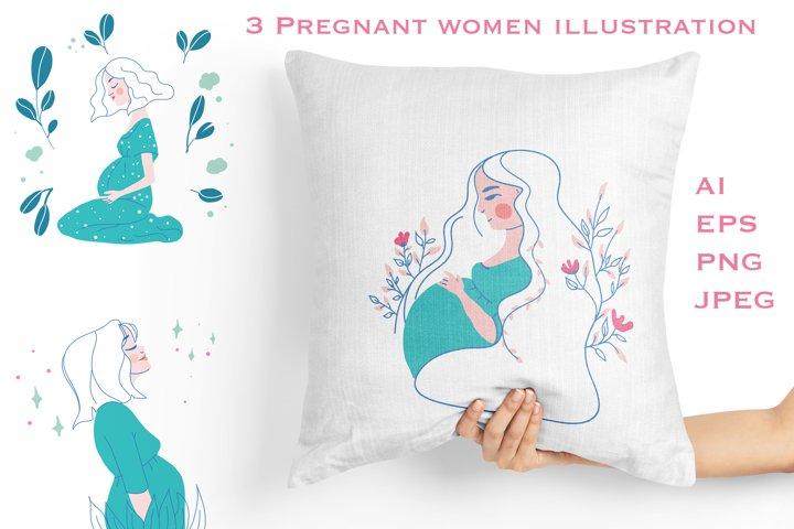 3 Pregnant women line art illustration PNG, AI, EPS, JPEg