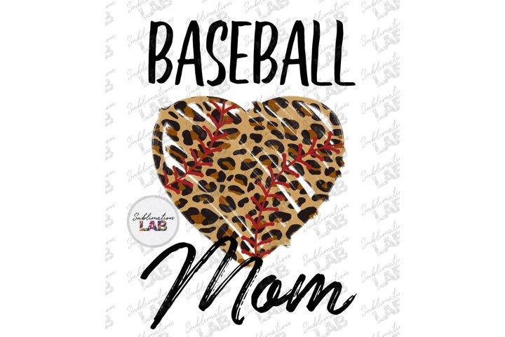 Baseball Mom Leopard Heart Sublimation Tshirt Design PNG