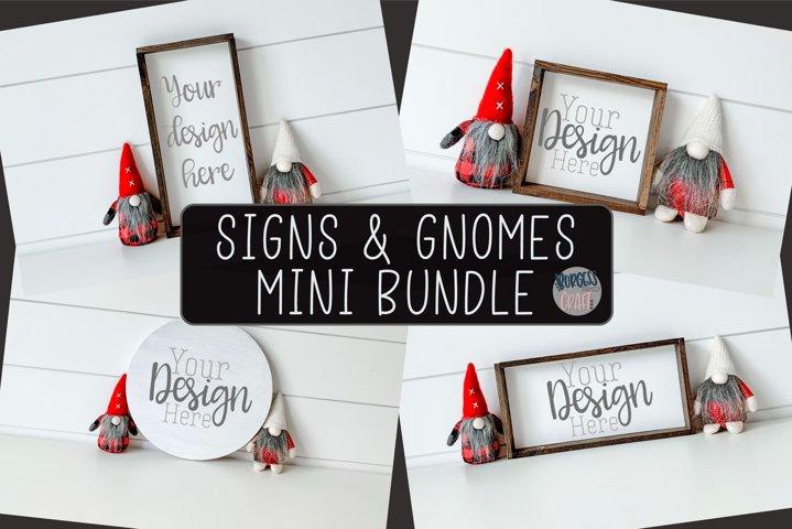 Signs & Gnomes Mini Bundle Christmas   Craft mock up
