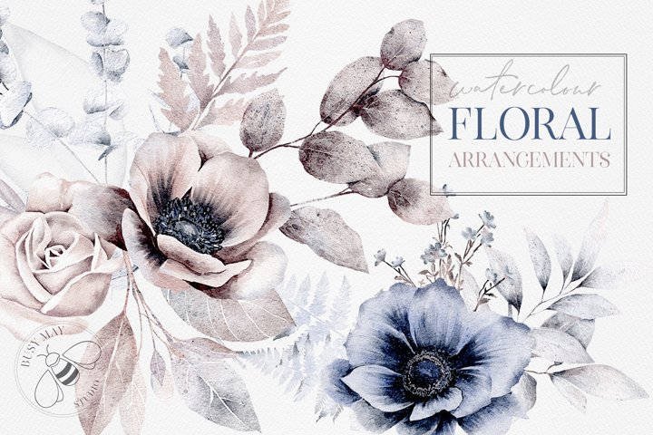 Watercolor Flower Arrangement Wedding Florals Hand Painted