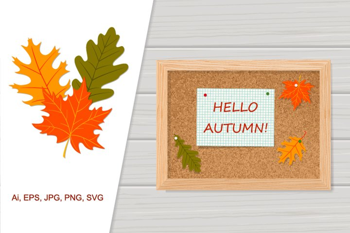 Vector corkboard Hello Autumn with colorful leaves