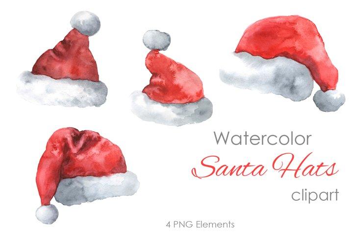 Christmas Clipart. Santa Hats Clipart. Winter art