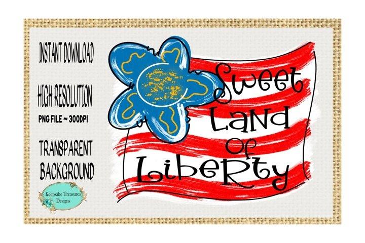 Sweet Land of Liberty Doodle Flag, Sublimation Design