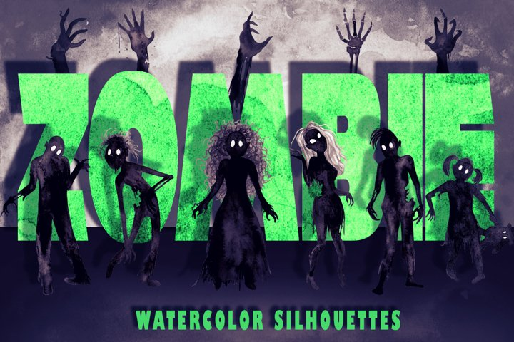 Watercolor Zombie Silhouettes