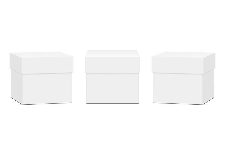 Set of Square Gift Boxes Mockups Isolated