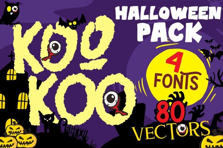 Kookoo 4 fonts and 80 vectors halloween