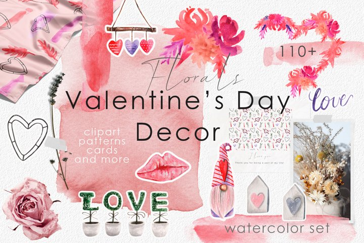 Floral Valentines Day Watercolor Decor Set. Patterns, Cards