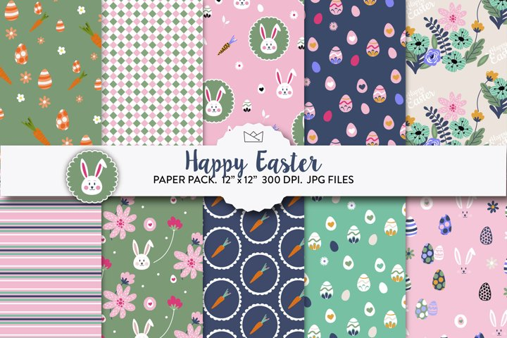 Happy easter digital paper, spring paper, cute rabbit