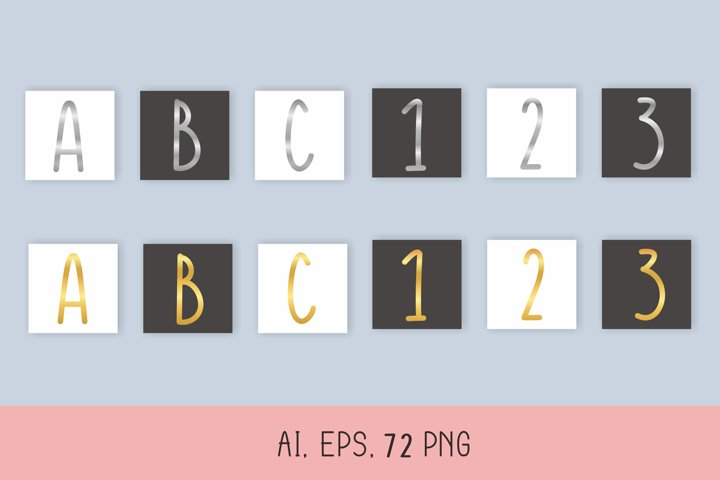Gold and Silver Alphabet & Numbers