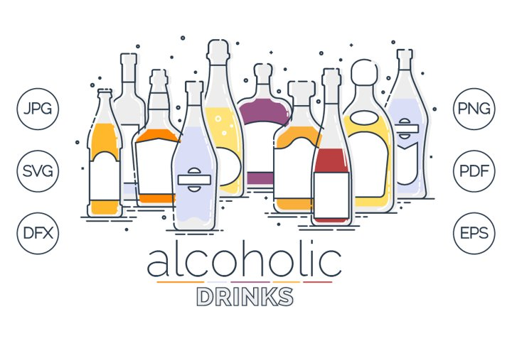 Collection alcoholic bottles in lineart style