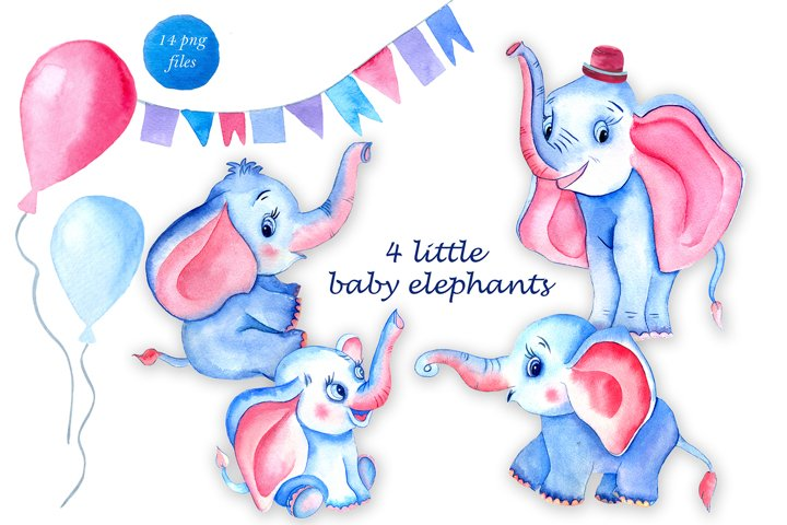 Cute elephant watercolor clipart Animals kids Baby shower