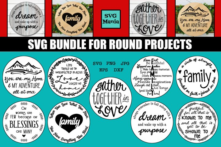 Round SVG File Bundle, SVG Bundle for Signs, Home Decor SVG
