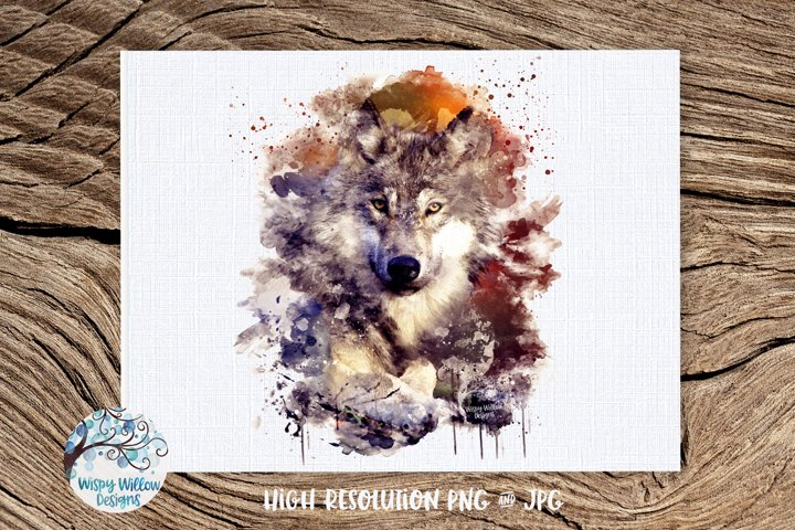 Watercolor Wolf | PNG and JPG | Sublimation