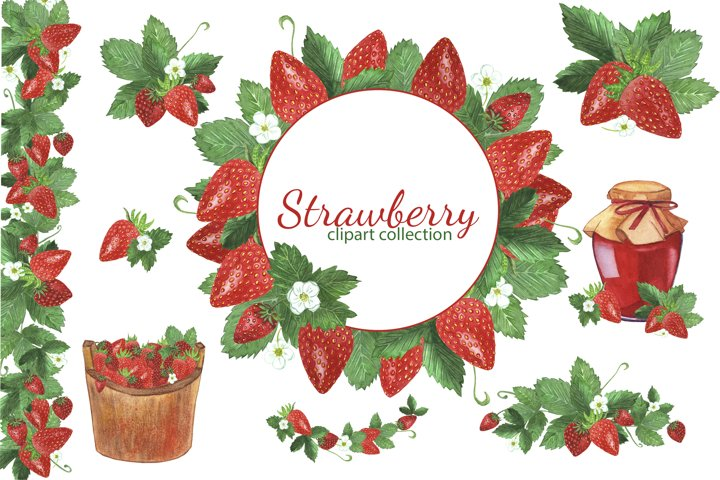 Watercolor Strawberry Clipart, Strawberries Frames