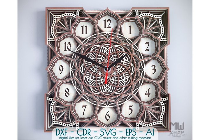 C02 - Laser Cut Wall Clock DXF, Mandala Clock, Wooden Clock