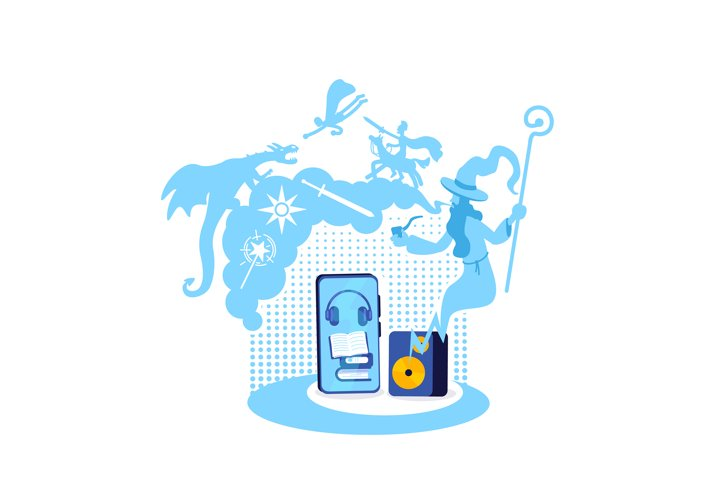 Fantasy audiobook flat concept vector illustration