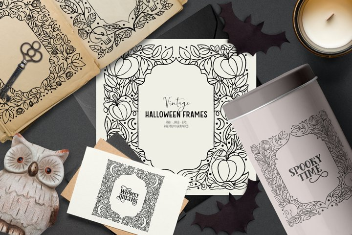 Hand-drawn vintage Halloween clipart | Gothic clipart frames