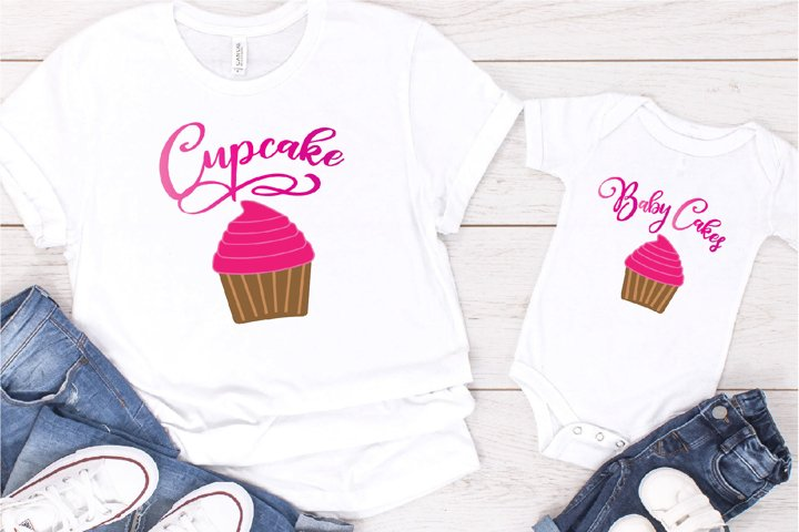 Cupcake SVG File, Baby Cakes Sublimation, Mom And Me Cupcake