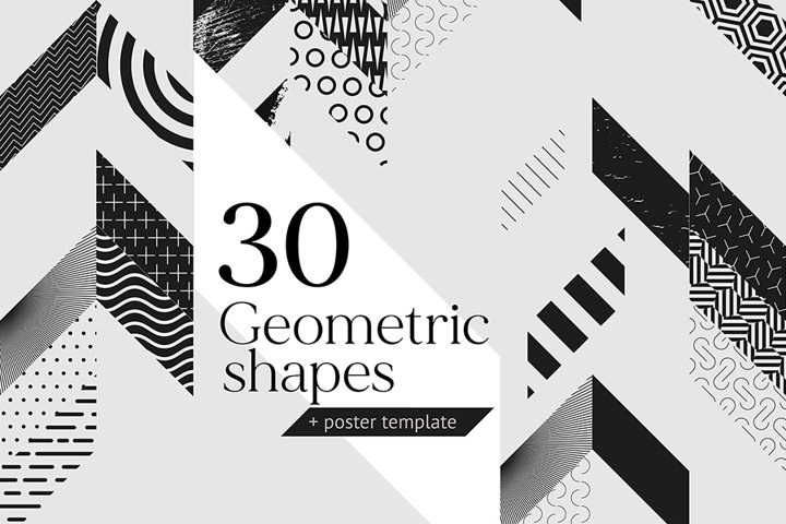 Collection of decorative geometric shapes