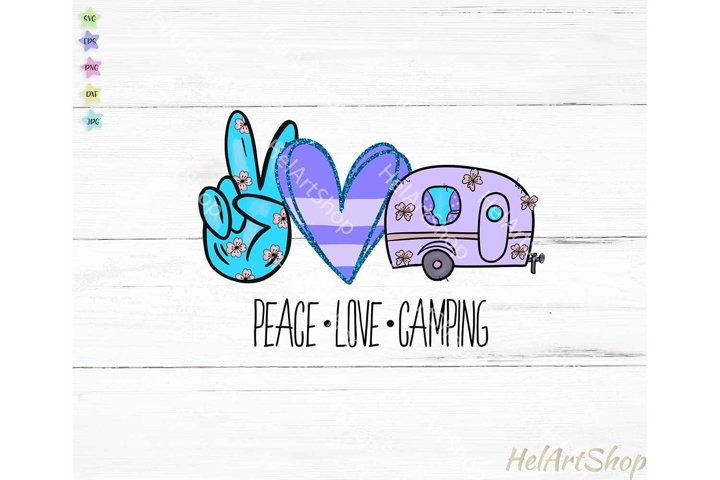 Peace love Camping   Sublimation design  Camper png