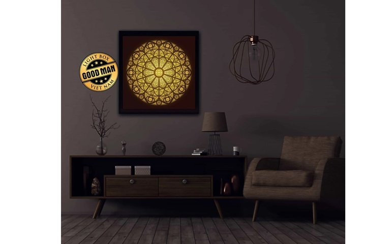 MANDALA 3D Paper Cutting Light Box - Shadow Box
