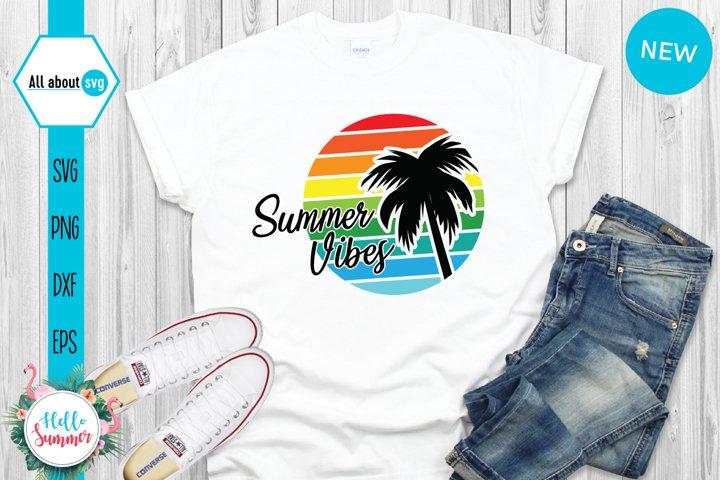 Vintahge Summer Vibes Sunset Svg