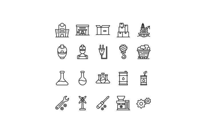 Industry icon set, outline style