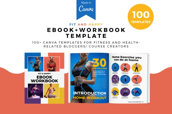 Fit and Happy Workbook Canva Template, Workbook template