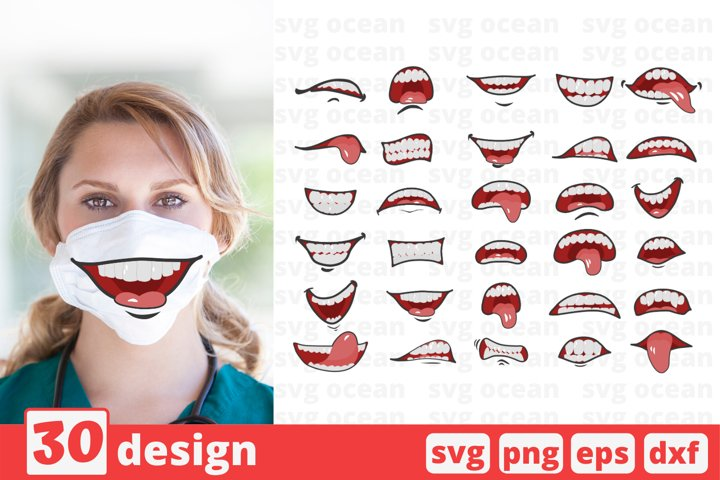 30 CARTOON MOUTHS FACE MASK svg pattern, mouth cricut svg