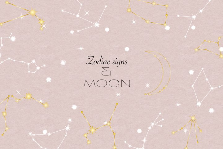 Zodiac signs and moon clip art / Line art illustrations