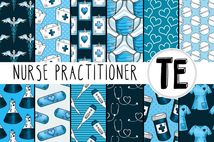 Nurse Practitioner Digital Paper Pack. 12 Seamless Patterns.
