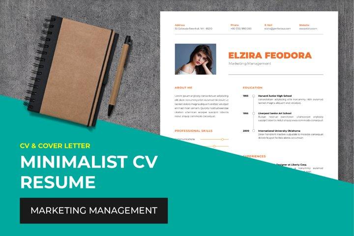 Minimalist CV Resume Template - Marketing Management