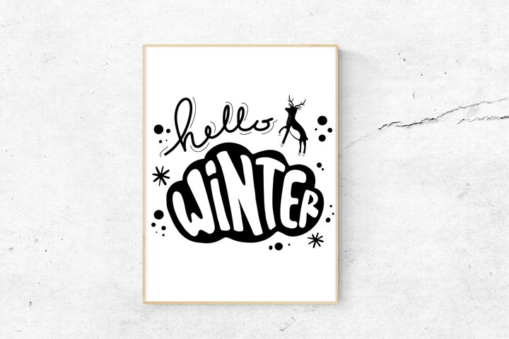 Hello Winter Cute Logo
