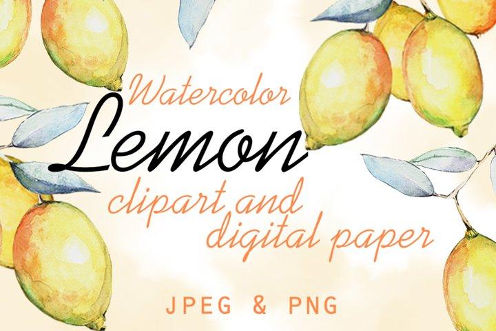 Watercolor Lemon set and Digital paper